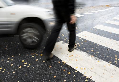 car striking pedestrian in crosswalk