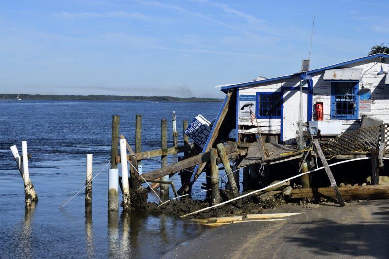 hurricane damaged waterfront building